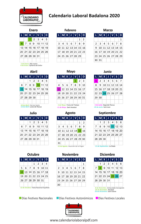 Calendario Laboral Badalona 2020