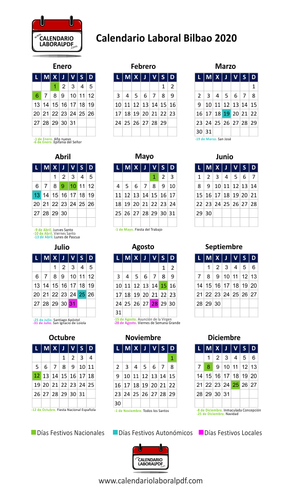 Calendario Laboral Bilbao 2020